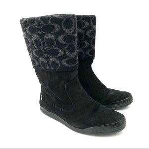 Coach Tatum  Large Logo Leather/Wool Upper Boots